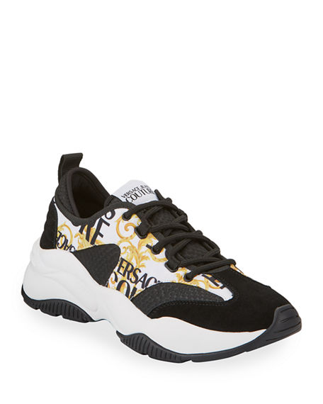 Versace Jeans Couture Men's Baroque Logo-Print Chunky Sneakers