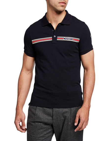 Moncler Men's Exclusive Logo-Stripe Polo Shirt