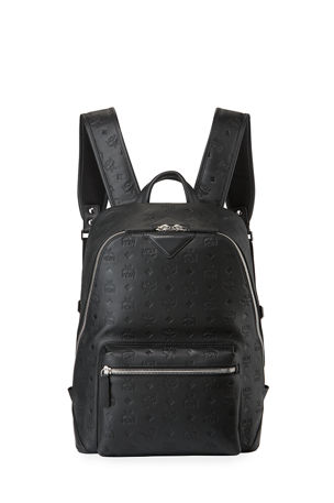 MCM Men's Neo Duke Logo-Embossed Leather Backpack