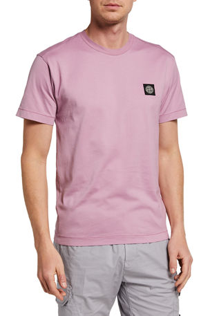 Stone Island Men's Crewneck T-Shirt with Logo Patch