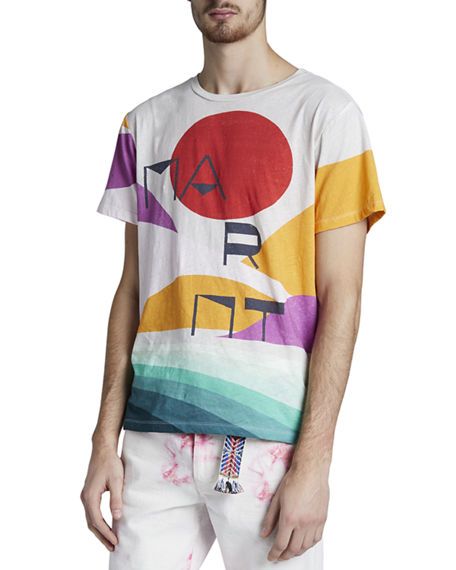Isabel Marant Men's Zaffin Abstract Landscape Logo Tee