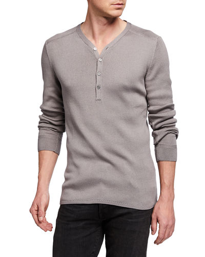 NEW MENS RETRO FIT STONE BEIGE SKULL L//S HENLEY CASUAL THERMAL SHIRT SIZE SMALL