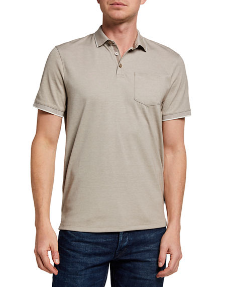 Image 1 of 2: John Varvatos Star USA Men's Cambridge Birdseye Pique Polo Shirt