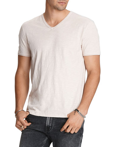 Men's Miles Slub V-Neck Raw-Edge Tee