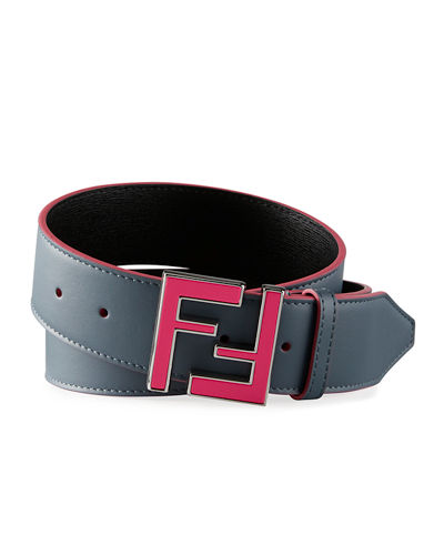 Fendi Men's Neon FF Calf Leather Belt