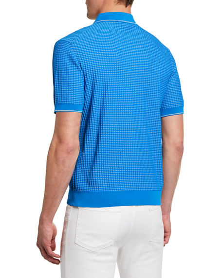 Image 2 of 2: Brioni Men's Waffle-Knit Polo Shirt