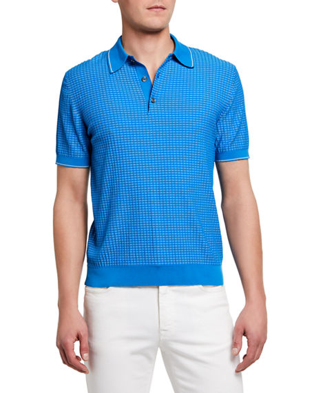 Image 1 of 2: Brioni Men's Waffle-Knit Polo Shirt