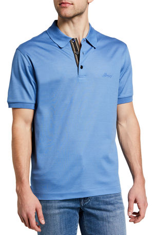 Brioni Men's Solid Cotton Pique Polo Shirt