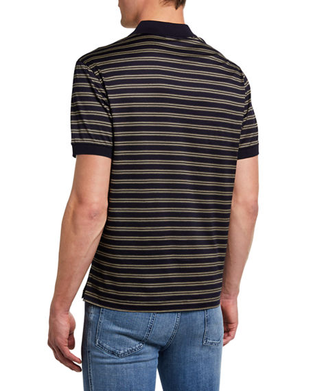 Image 2 of 2: Brioni Men's Jersey Striped Polo Shirt