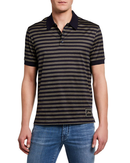 Image 1 of 2: Brioni Men's Jersey Striped Polo Shirt