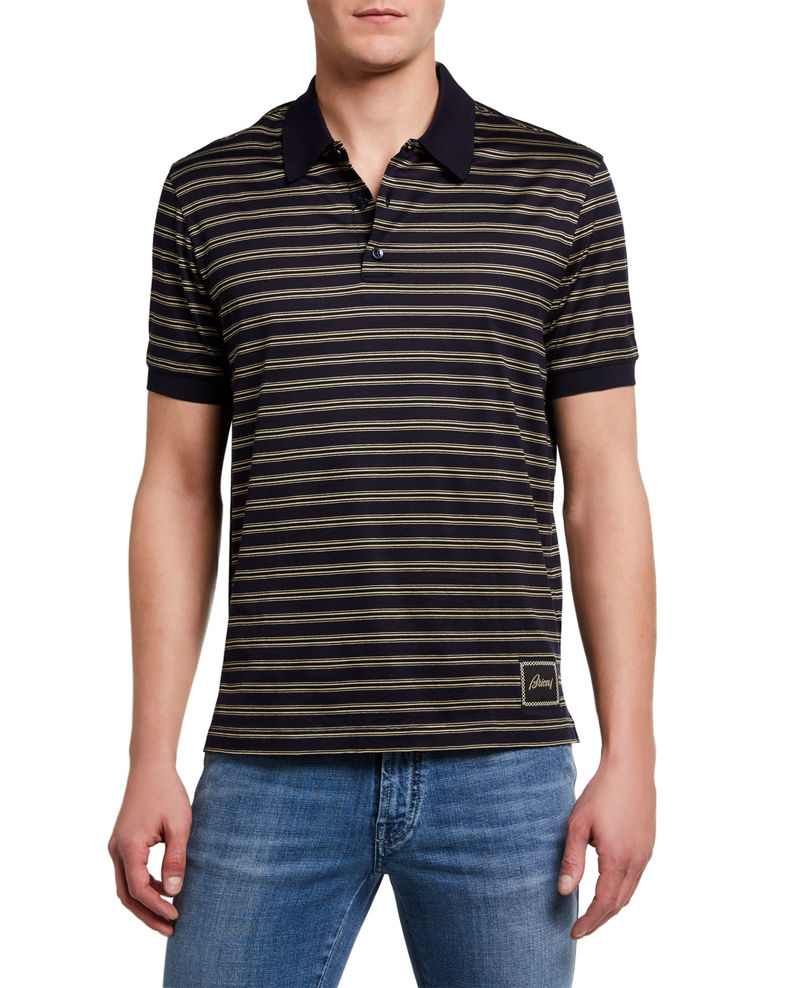 Brioni Men's Jersey Striped Polo Shirt