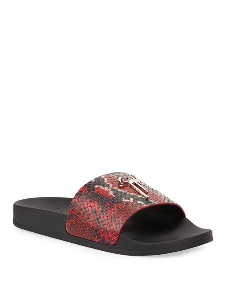 Giuseppe Zanotti Men's Snake-Embossed Leather Logo Slide Sandals