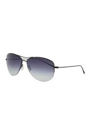 Oliver Peoples Men's Strummer Gradient Metal Aviator Sunglasses