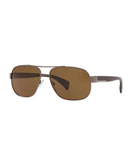 Prada Men's Polarized Metal Aviator Sunglasses