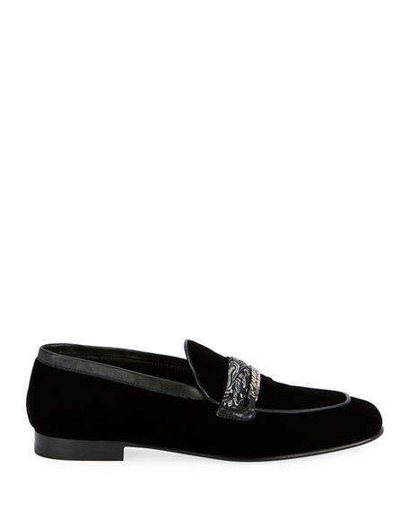 Image 2 of 4: Amiri Men's Velvet Loafers w/ Bandana Chain