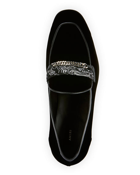 Image 3 of 4: Amiri Men's Velvet Loafers w/ Bandana Chain