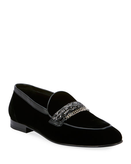 Image 1 of 4: Amiri Men's Velvet Loafers w/ Bandana Chain