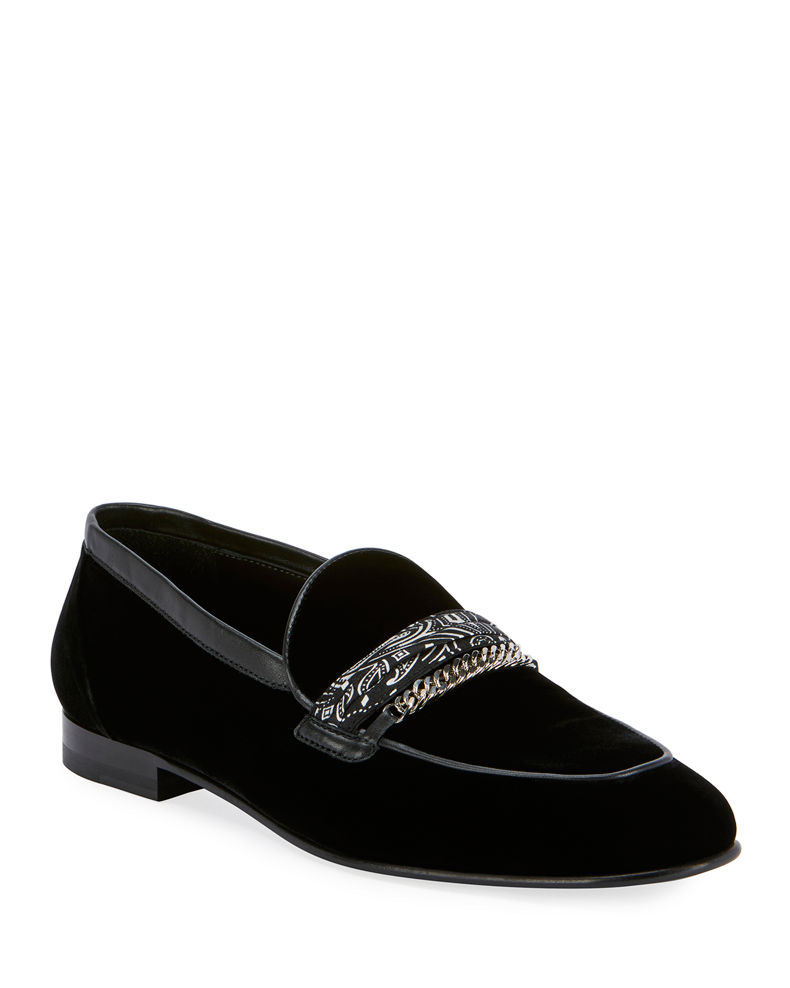 Amiri Men's Velvet Loafers w/ Bandana Chain