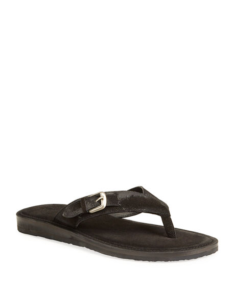 John Varvatos Men's Havana Suede Buckle Thong Sandals