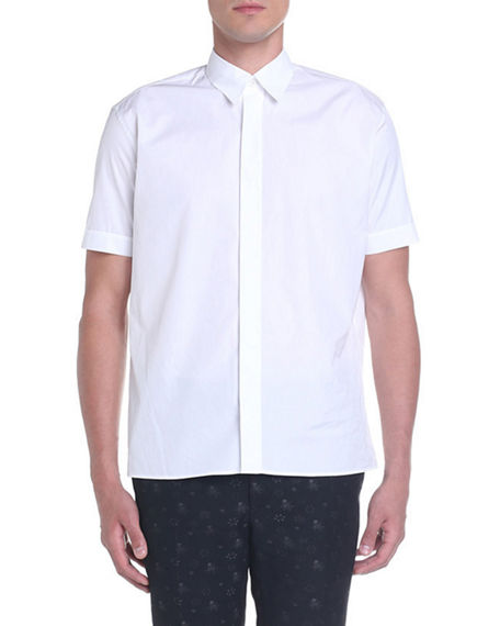 Fendi Men's Solid Hidden-Button Point-Collar Sport Shirt