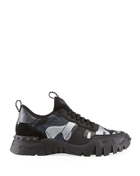 Image 4 of 5: Valentino Men's Rockrunner Plus Camo Sneakers
