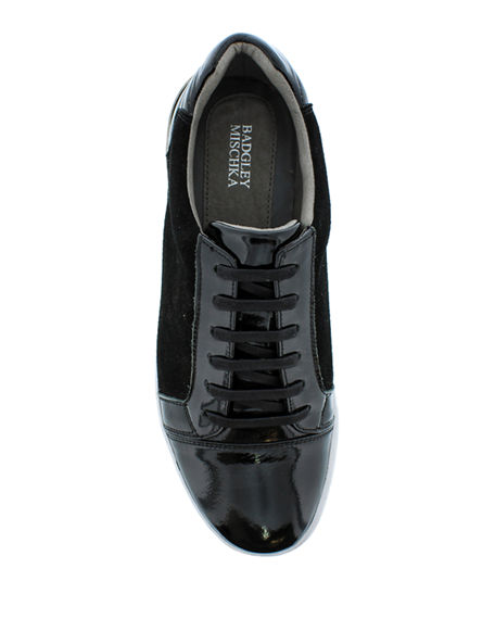 Image 2 of 4: Badgley Mischka Men's Ellison Patent Leather/Suede Sneakers