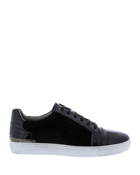Image 3 of 4: Badgley Mischka Men's Ellison Patent Leather/Suede Sneakers