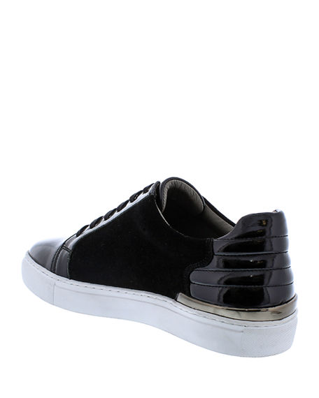 Image 4 of 4: Badgley Mischka Men's Ellison Patent Leather/Suede Sneakers