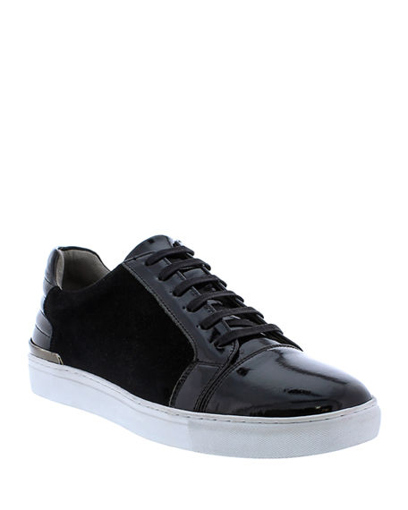Image 1 of 4: Badgley Mischka Men's Ellison Patent Leather/Suede Sneakers