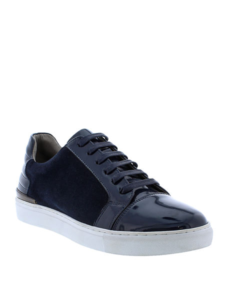 Badgley Mischka Men's Ellison Patent Leather/Suede Sneakers