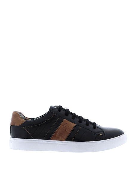 Image 3 of 4: Robert Graham Men's Attwood Two-Tone Leather Sneakers