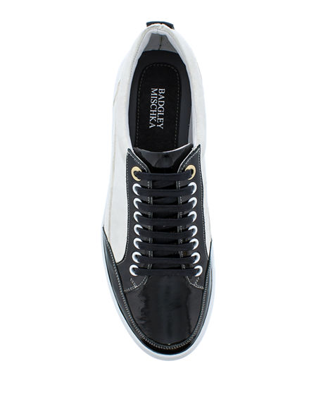Image 2 of 4: Badgley Mischka Men's Buffet Suede/Leather Low-Top Sneakers