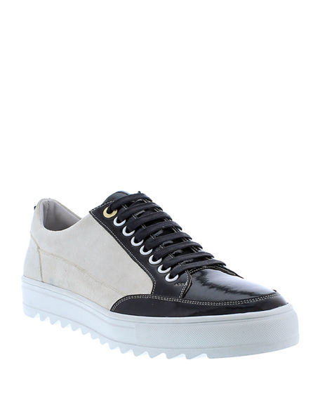 Image 1 of 4: Badgley Mischka Men's Buffet Suede/Leather Low-Top Sneakers