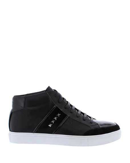 Image 3 of 4: Badgley Mischka Men's Walton Studded Leather High-Top Sneakers