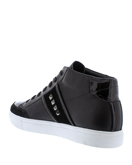 Image 4 of 4: Badgley Mischka Men's Walton Studded Leather High-Top Sneakers