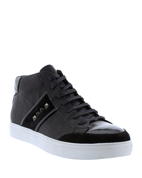 Image 1 of 4: Badgley Mischka Men's Walton Studded Leather High-Top Sneakers