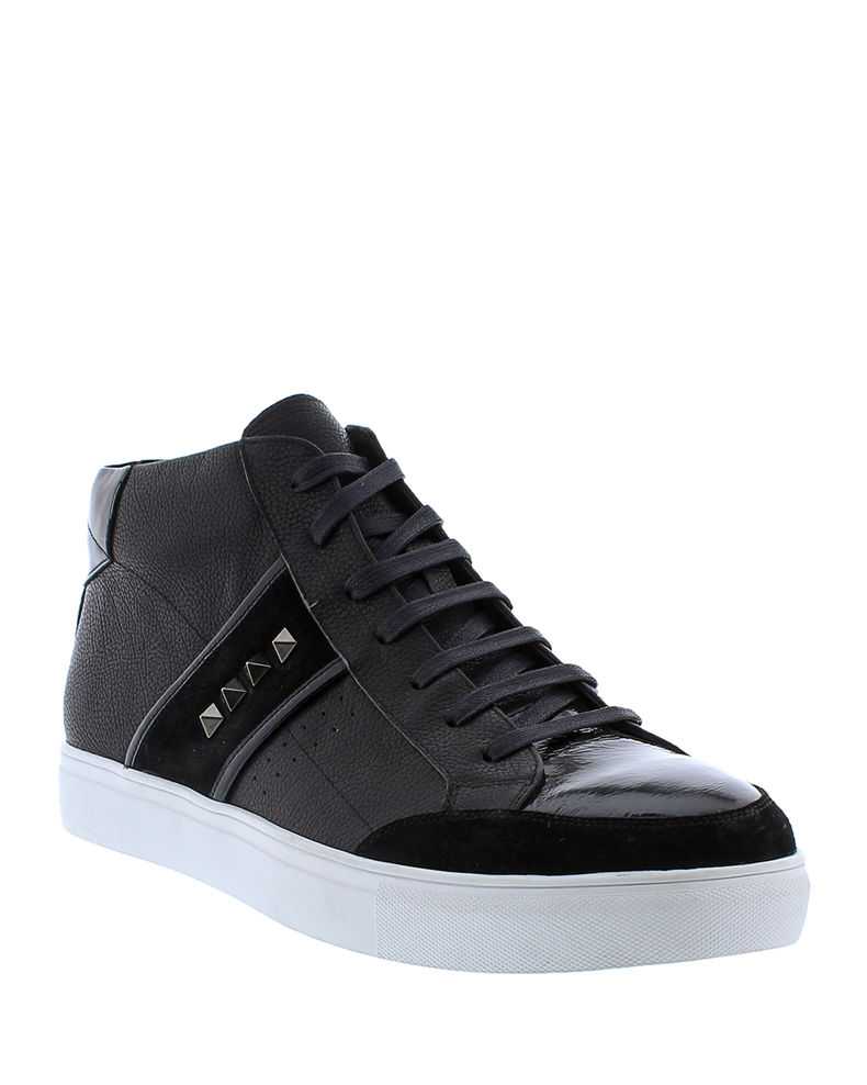 Badgley Mischka Men's Walton Studded Leather High-Top Sneakers