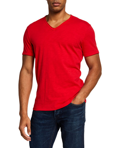John Varvatos Star USA Men's Miles Short Sleeve Slub V-Neck T-Shirt