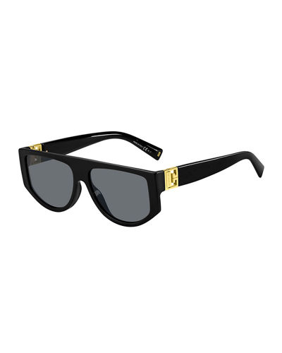 Givenchy Men's Rectangle Acetate Sunglasses w/ Metal Logo