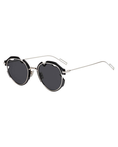 Men's Breaker Round Cutout-Lens Metal Sunglasses