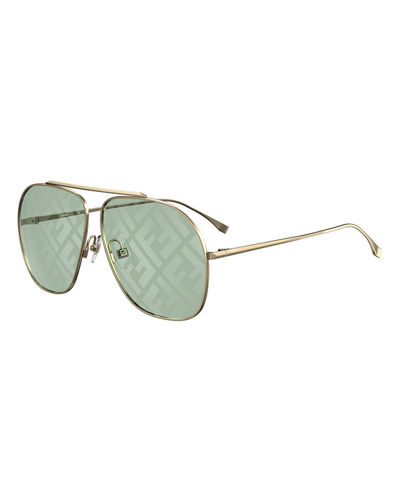 Men's Square Metal FF Lenses Sunglasses