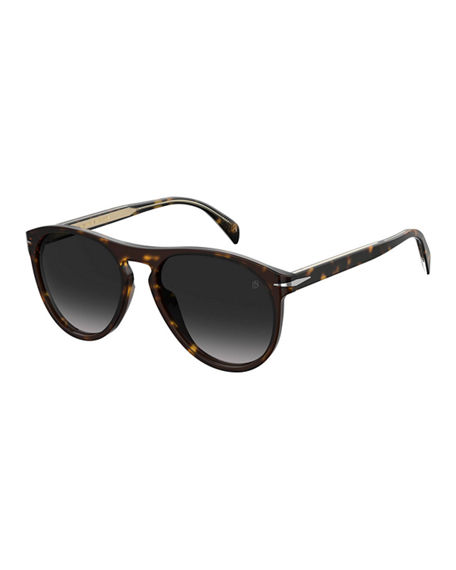 David Beckham Men's Havana Acetate Round Gradient Sunglasses