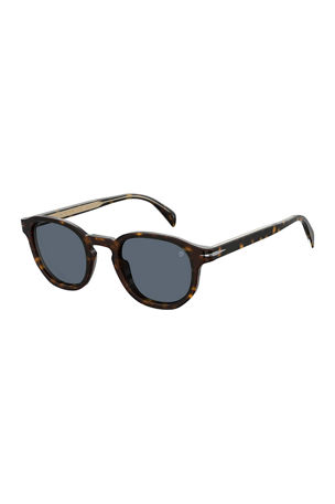 David Beckham Men's Round Havana Acetate Sunglasses