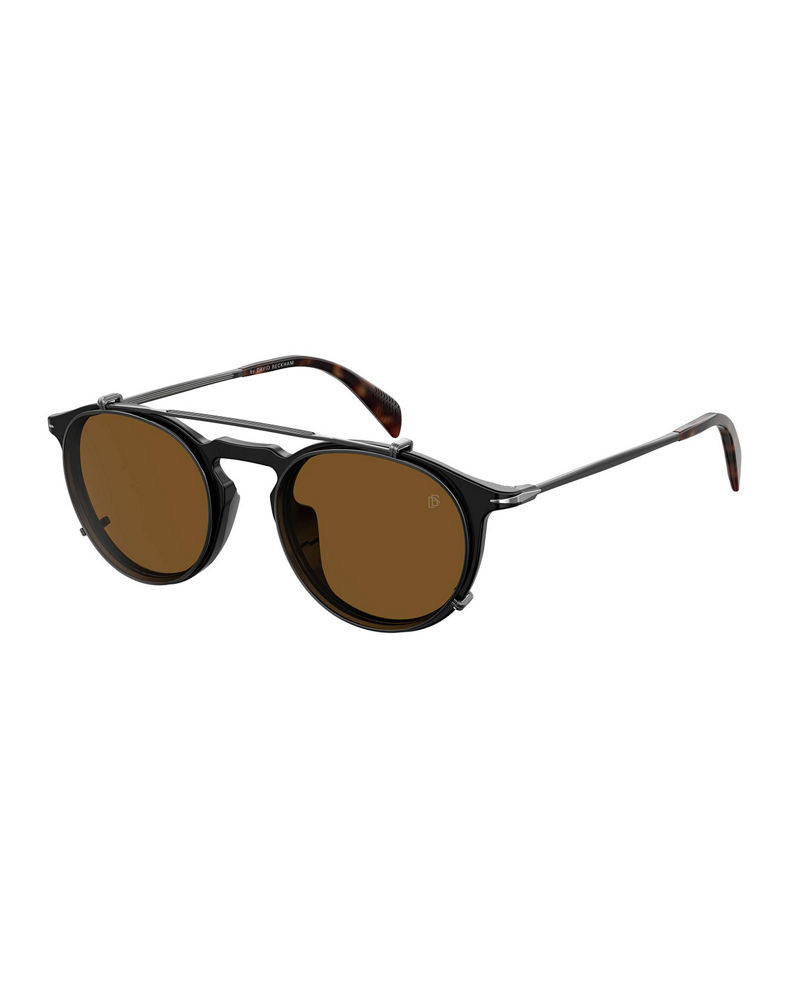 David Beckham Men's Round Sunglasses w/ Clip-On Lenses
