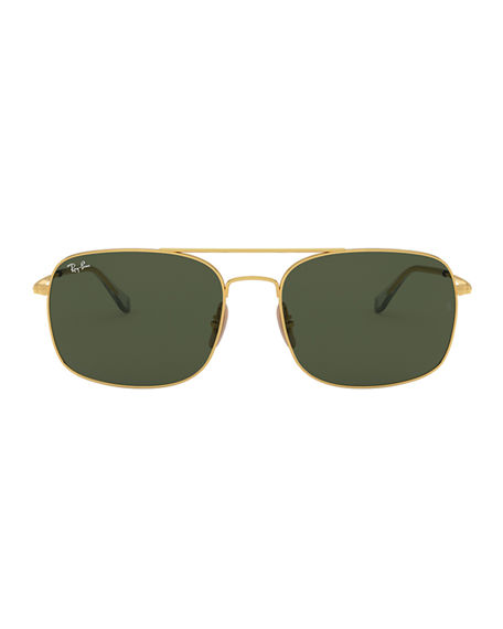 Image 2 of 2: Ray-Ban Men's Rectangle Slim Steel Sunglasses