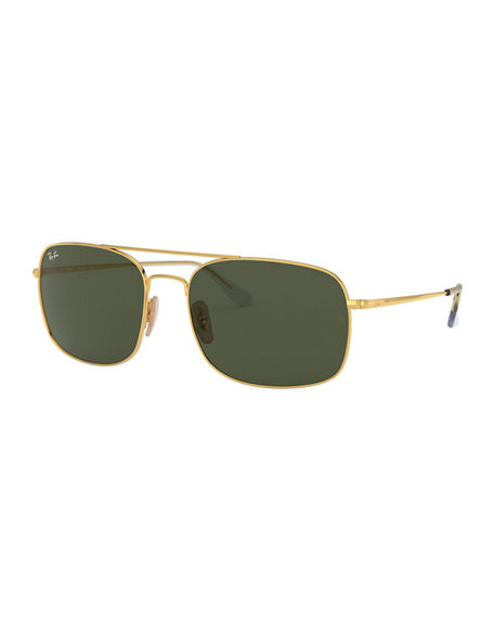 Image 1 of 2: Ray-Ban Men's Rectangle Slim Steel Sunglasses