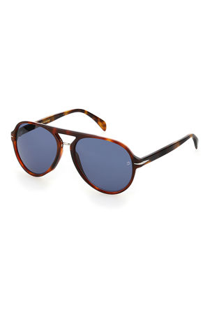 David Beckham Men's Square Patterned Acetate Sunglasses