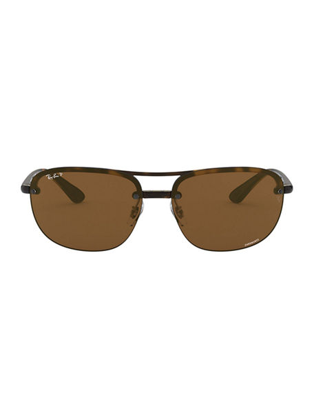 Image 2 of 3: Ray-Ban Men's Square Half-Rim Propionate Sunglasses
