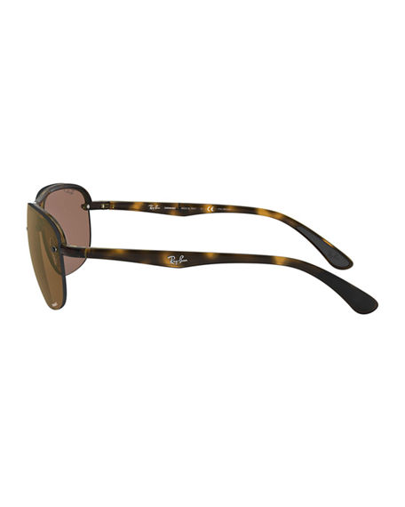 Image 3 of 3: Ray-Ban Men's Square Half-Rim Propionate Sunglasses