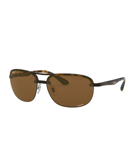 Image 1 of 3: Ray-Ban Men's Square Half-Rim Propionate Sunglasses